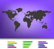Weltkarteillustration auf unscharfem Hintergrund Stockfotos