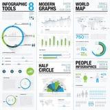 Weltkarteinfographics u. -geschäftssichtbarmachungsvektorelemente Stockbilder