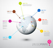 Weltkartekugel mit Zeigerkennzeichen Stockbilder
