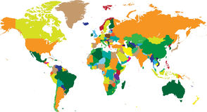 Weltkarteländer in den Vektoren Stockfotos