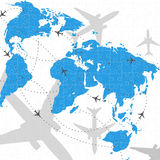 Weltkarten-Flugreisen-Abbildungpuzzlespiel Stockfoto