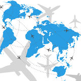 Weltkarten-Flugreisenabbildung Stockbild