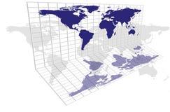 Weltkarten-Rasterfeld Stockfotografie
