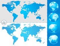Weltkarten und -kugel Lizenzfreie Stockfotografie