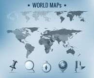 Weltkartenansammlung mit Ikonen Stockfotos