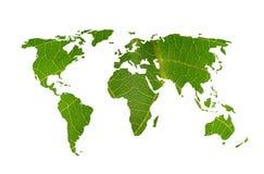 Weltkartenblatt stockfotos