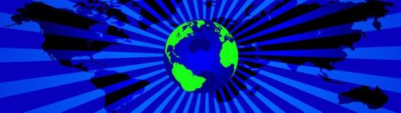 Weltkartenfahne lizenzfreie abbildung