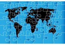 Weltkartenpuzzlespiel Stockbild