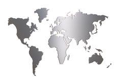 Weltkartenschattenbild getrennt auf Weiß Stockfotografie