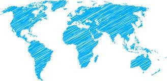Weltkartenskizze Stockfotos