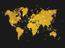 Weltkarteschattenbild mit Verbindungsgitter - Illustration Stockfoto
