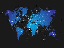 Weltkarteschattenbild mit Verbindungsgitter - Vektor Stockbild