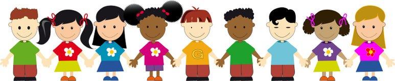 Weltkinder in einer Zeile Stockfotos