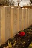 1. Weltkrieg des Militärfriedhofs Flandern Stockfotografie