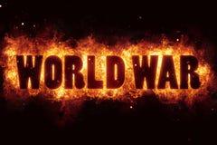 Weltkrieg-Terrorterrorismusfeuerbrand-Flammentext ist explodieren Lizenzfreie Stockfotografie