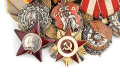 Weltkriegrussische Militärmedaillen Stockfotos