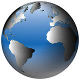 Weltkugel: Atlantik, mit blau-schattierten Ozeanen Lizenzfreies Stockfoto