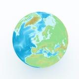 Weltkugel mit geographischen Funktionen Stockbild