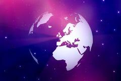 Weltkugel mit Raumhintergrund der hellen Strahlen Stockbilder
