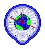 Weltkugel und clock1 stock abbildung