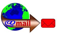 Weltkugel und Post 1 lizenzfreie abbildung