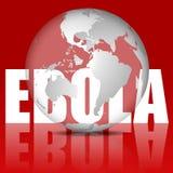 Weltkugel und Wort Ebola im Rot Lizenzfreie Stockfotos