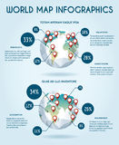 Weltkugelvektor infographic in der Polygonart Lizenzfreie Stockfotografie