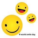 Weltlächelntag Lächelnikonenvektor Glück Symbol, Lächelngesichtsausdruck, Vektorillustration lizenzfreie abbildung