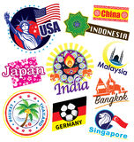 Weltlandreisemarkstein-Ikonensatz Lizenzfreies Stockfoto