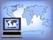 Weltlaptop-Hintergrund Lizenzfreie Stockbilder