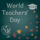 Weltlehrer ` Tageskreidetext auf dem Tafelvektor lizenzfreies stockbild