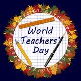 Weltlehrer ` Tagestext auf einem Schulübungsbuchblatt stockbilder