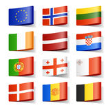Weltmarkierungsfahnen. Europa. Stockfotos