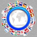 Weltmarkierungsfahnen mit Karte Stockbilder