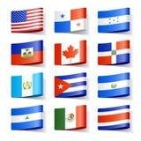 Weltmarkierungsfahnen. Nordamerika. Lizenzfreies Stockfoto