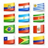 Weltmarkierungsfahnen. Südamerika. Stockfotos