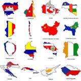 Weltmarkierungsfahnenkarte skizziert Ansammlung 03 Lizenzfreie Stockfotografie