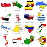 Weltmarkierungsfahnenkarte skizziert Ansammlung 13 Stockbild