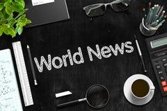 Weltnachrichten handgeschrieben auf schwarzer Tafel Wiedergabe 3d Stockbilder