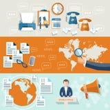 Weltnachrichten-Telekommunikationsnachrichtenstudio-Geschäftsfahnen Lizenzfreies Stockfoto