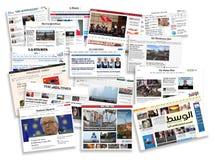 Welton-line-Zeitungen ausführlich Stapel von Zeitungen mit Nachrichteninformationen und -lesung lizenzfreie abbildung