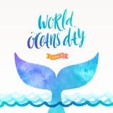 Weltozean-Tagesillustration - bürsten Sie Kalligraphie und das Endstück eines Tauchenwals über der Ozeanoberfläche lizenzfreie abbildung