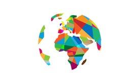 Weltpixel-Kontinente Logo Map Design lizenzfreie abbildung