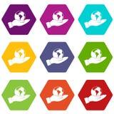 Weltplanet in gesetztem hexahedron Farbe der Mannhandikone Stockbild