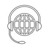 Weltplanetenkopfservice-Kommunikation verdünnen Linie Stockbild