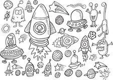 Weltraum-Gekritzel-Vektor-Satz Stockfotografie