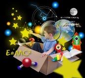 Weltraumforschung-Junge im Kasten mit Sternen auf Schwarzem Lizenzfreies Stockfoto