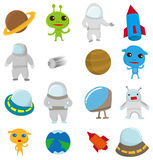 Weltraumikone der Karikatur Stockbild