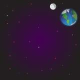 Weltraumillustrationsvektorhintergrund Sterne Erde Mond Raum, Träume und Nacht Stockbilder