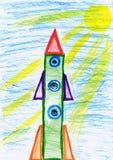 Weltraumrakete an der Produkteinführung, Kinder, die Gegenstand auf Papier, Hand gezeichnetes Kunstbild zeichnen lizenzfreie abbildung